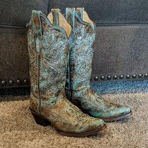 Aqua/bronze CORRAL cowboy western boots sz 6.5 euc